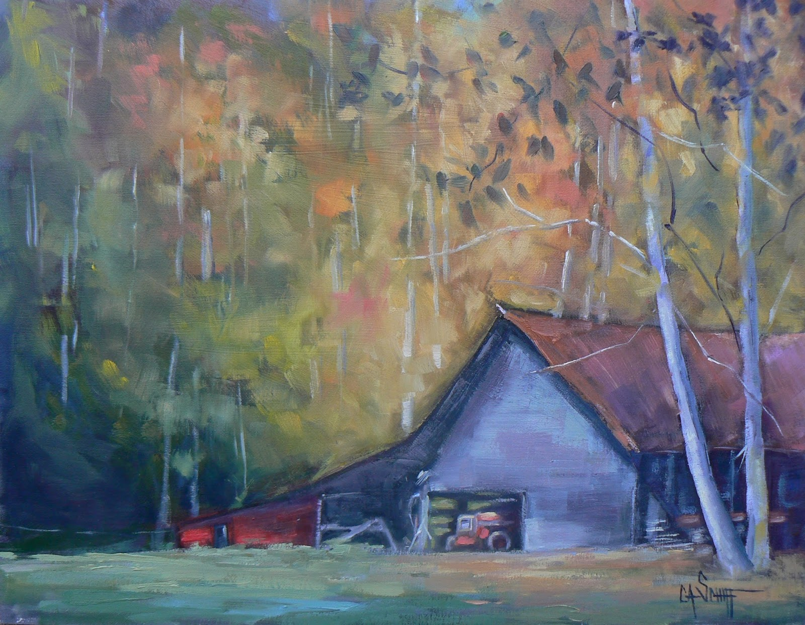 CAROL SCHIFF DAILY PAINTING STUDIO Painting On Sale Barn Oil