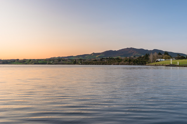 Maungatautari sunrise from Lake Karapiro
