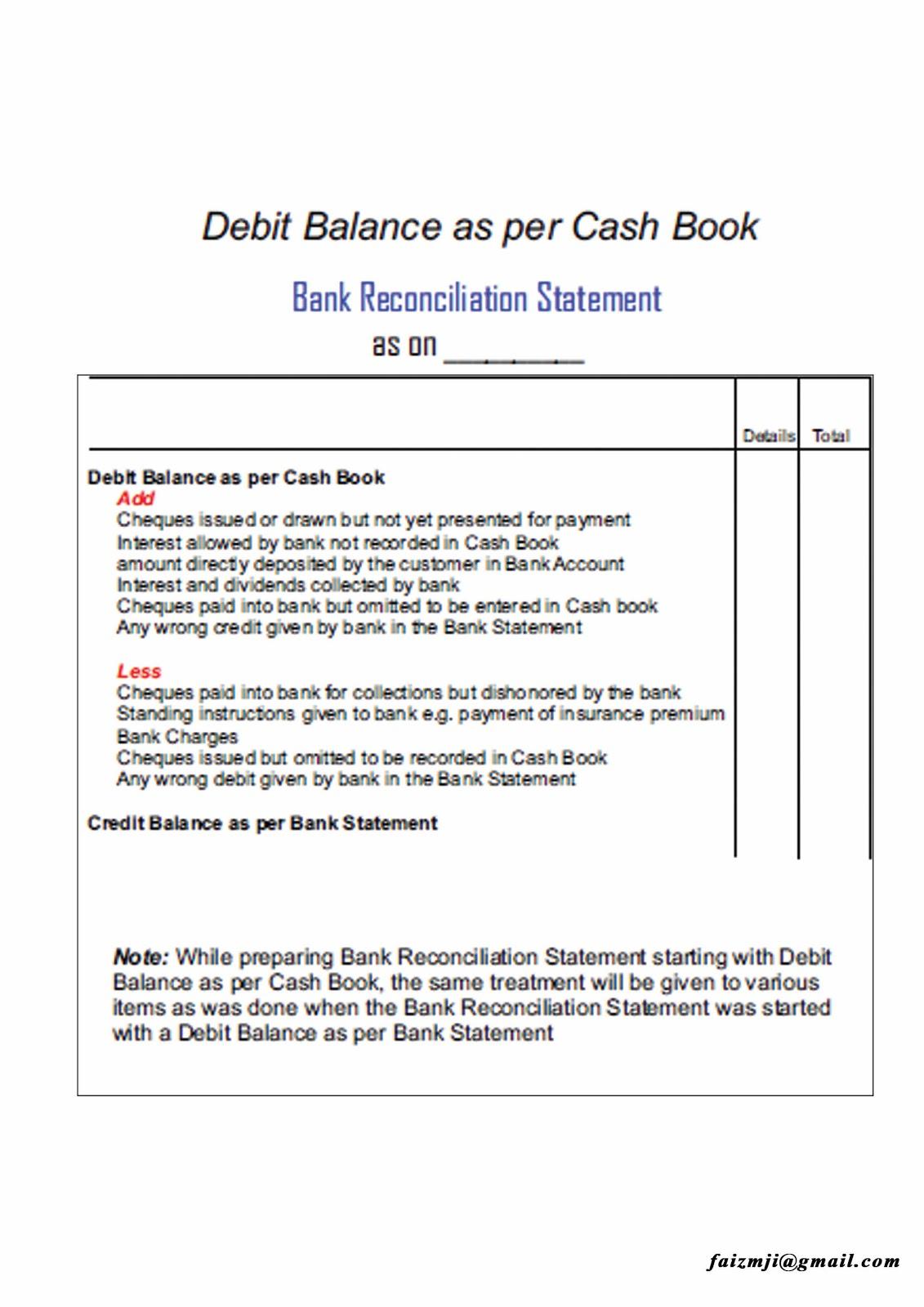 bank reconciliation statement format