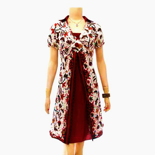 DB3632 Model Baju Dress Batik Modern Terbaru 2014