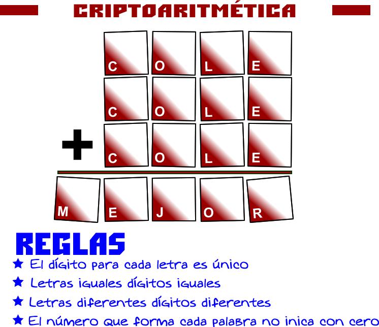 Criptogramas, Criptoaritmética, Alfamética, De regreso a clases, Retos matemáticos, Desafíos matemáticos, Problemas matemáticos