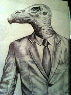ballpoint pen drawing of a vulture in a suit by TonyMark