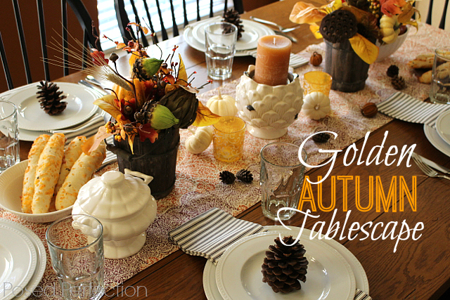 Embracing the golden hues of Autumn, this tablescape paves the way for a cozy dinner with friends and family.