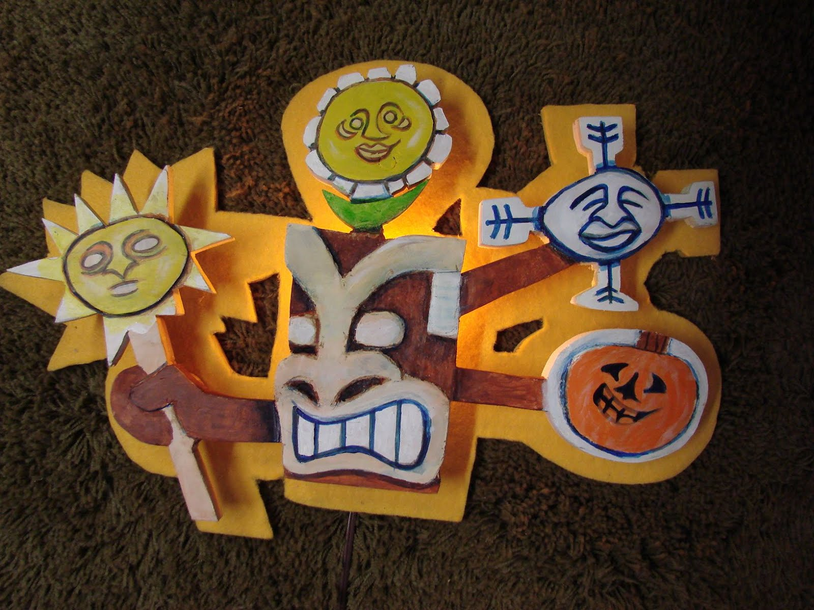 """Tiki Central art swap piece """"Seasons""""."""
