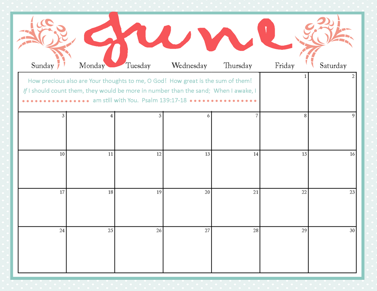 Printable Calendar June : The ging pastors wife printable june calendar