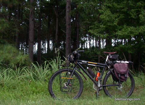 Picture of mountain bike with racks and panniers for touring