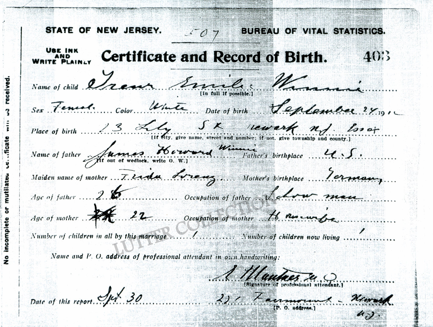 Family history research by jody gleanings from the life of a musician state of new jersey birth certificate irene emilie winnie born september 24 1912 in newark aiddatafo Images