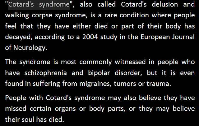cotards syndrome research paper Research shows that culture has an impact on the biographical experiences expressed by patients who suffer from cotard's this finding supports bering's view of a cognitive system dedicated to forming illusory representations of immortality.