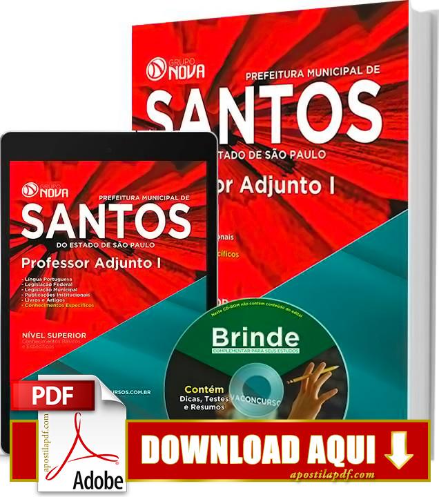 Apostila Prefeitura de Santos Professor Adjunto PDF Grátis Download 2016