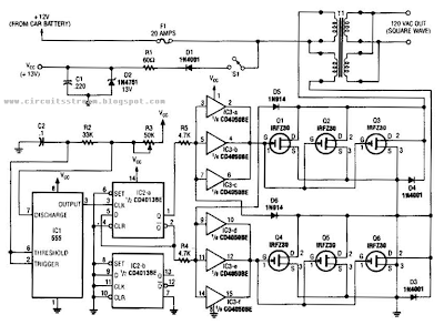 electrinic and circuit  simple 250w inverter circuit diagram