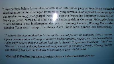Kata-kata motivasi dari Michael D Ruslim (Presiden Direktur Astra)