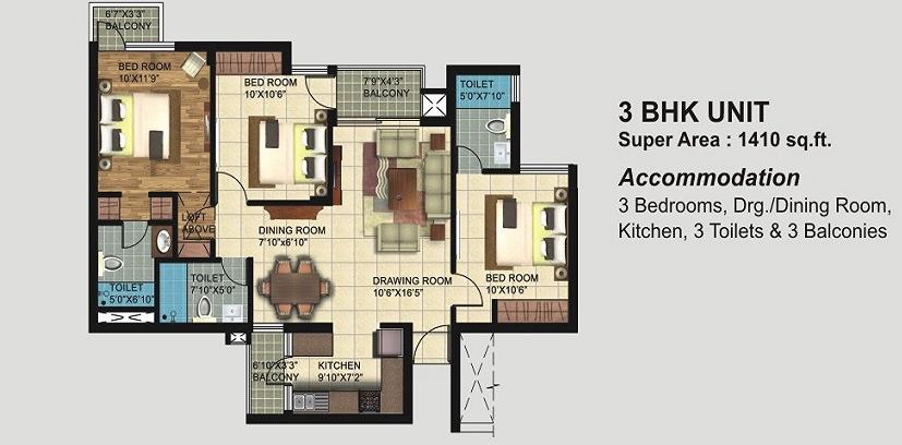 Paarth Republic Mega Township Floor Plans 1410 Sqft