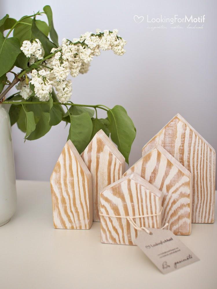 handmade drewniane domki, sosna, prezent, ozdoby do domu, komplet 5 drewnianych domków