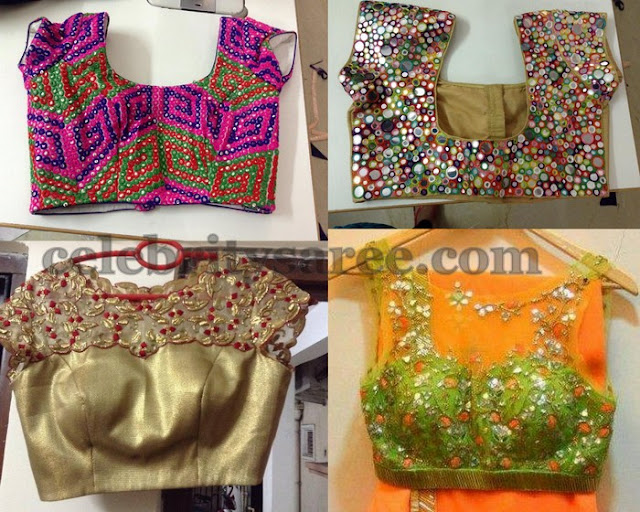 Boat Neck Mirror Work Blouse Designs