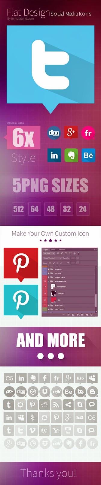 30 Social Media Icons PSD Files