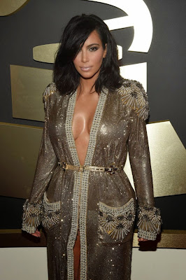 Kim Kardashian hot cleavage at 2015 Grammy Awards in Los Angeles