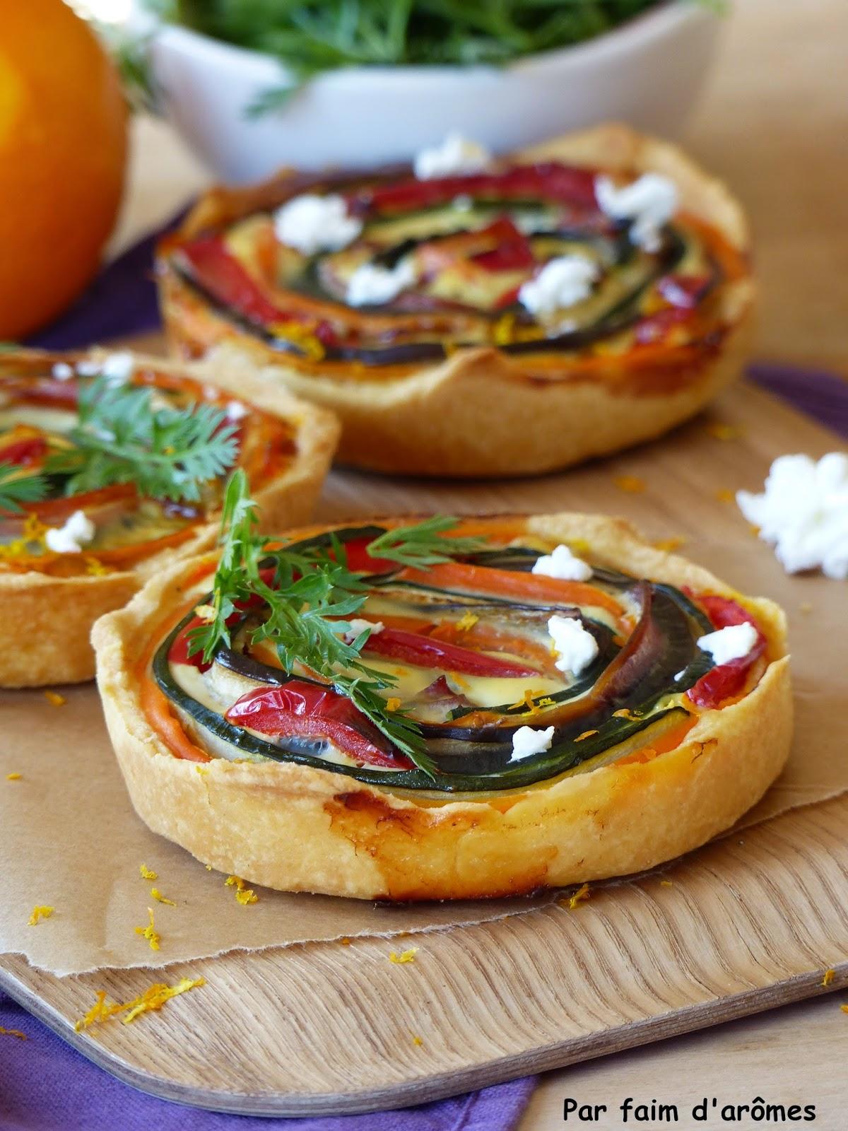 Tartelettes spirale aux légumes et jambon cru