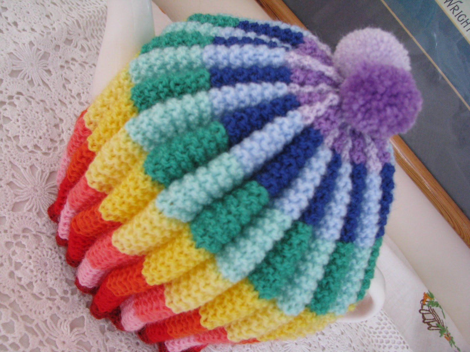 Tea Cozy Knitting Patterns : Shortbread & Ginger: Rainbow Knitted Tea Cosy