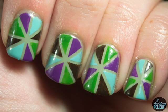nails, nail art, striping tape, triangles, shapes, green, china glaze for audrey, purple, brown, hey darling polish