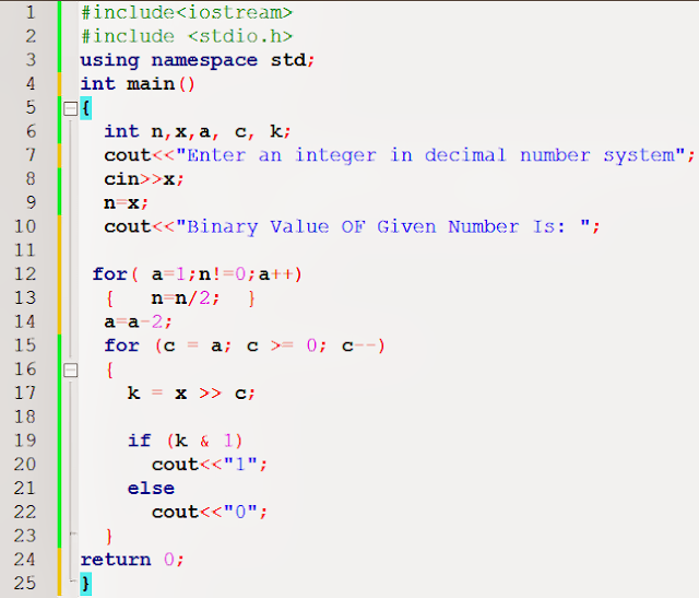 Decimal to Binary Conversion cplusplus code