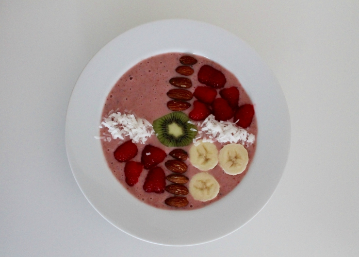 Coconut, Strawberry, Raspberry Smoothie Bowl recipe