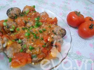 Nấm nhồi thịt hấp sốt cà chua