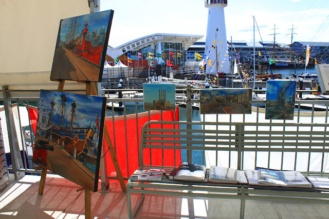 exhibition of oil paintings of tall ships and Pyrmont  by artist Jane Bennett at 2012 Classic and Wooden Boat Festival at Australian National Maritime Museum