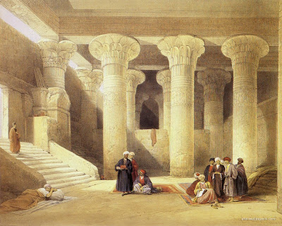 men in ancient Roman or Egyptian building