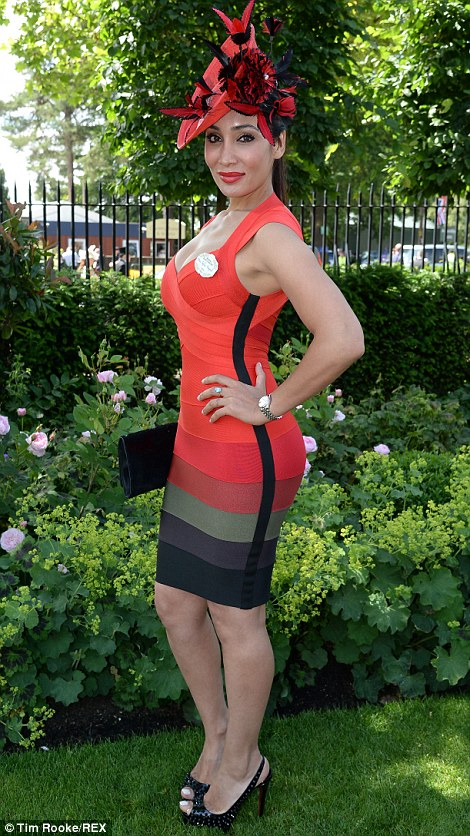 Sofia-Hayat in a red Herve Leger dress on day 1 at Royal Ascot 2014