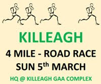 4 mile race in Killeagh in E.Cork...Sun 5th Mar 2016 at 11am