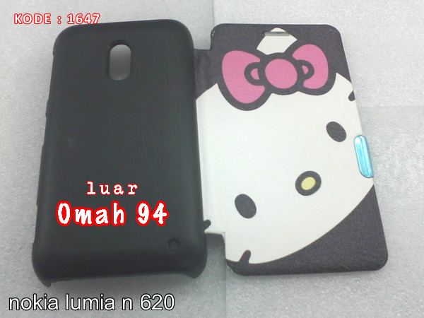 Jual Flip Cover Case Nokia Lumia N 620 Hello Kitty Hitam (Black)