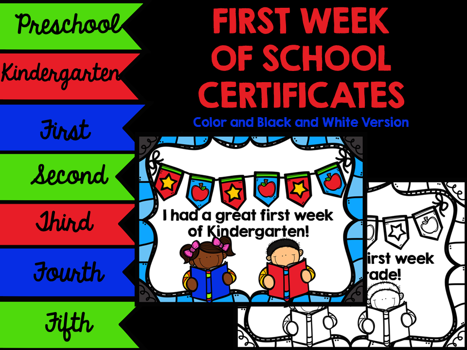 http://www.teacherspayteachers.com/Product/First-Week-of-School-Certificates-1431776