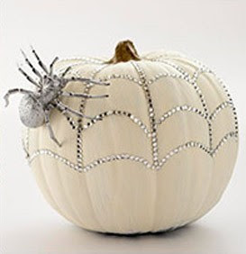 Halloween, Bedazzled Spiderweb, Spider, Pumpkin, White, Pinterest