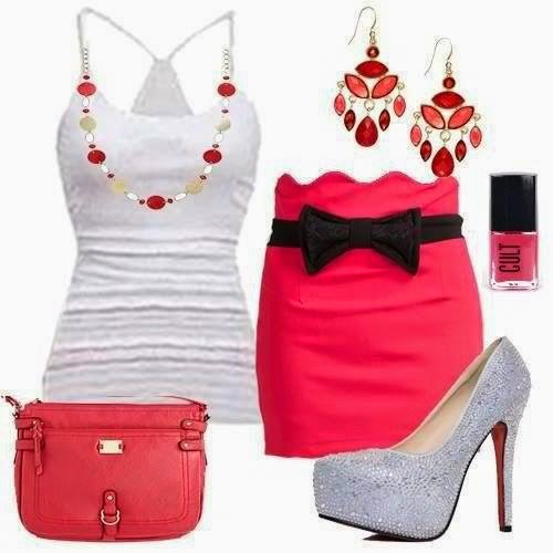 Gorgeous neck line slim tank shirt with pink slim bandage maxi skirt with black ribbon,sliver high heel shoes,pink purse and ear ring fashion