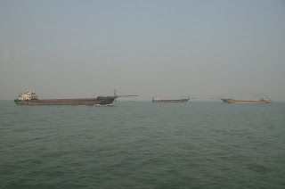 Ships in the Pearl River estuary in China