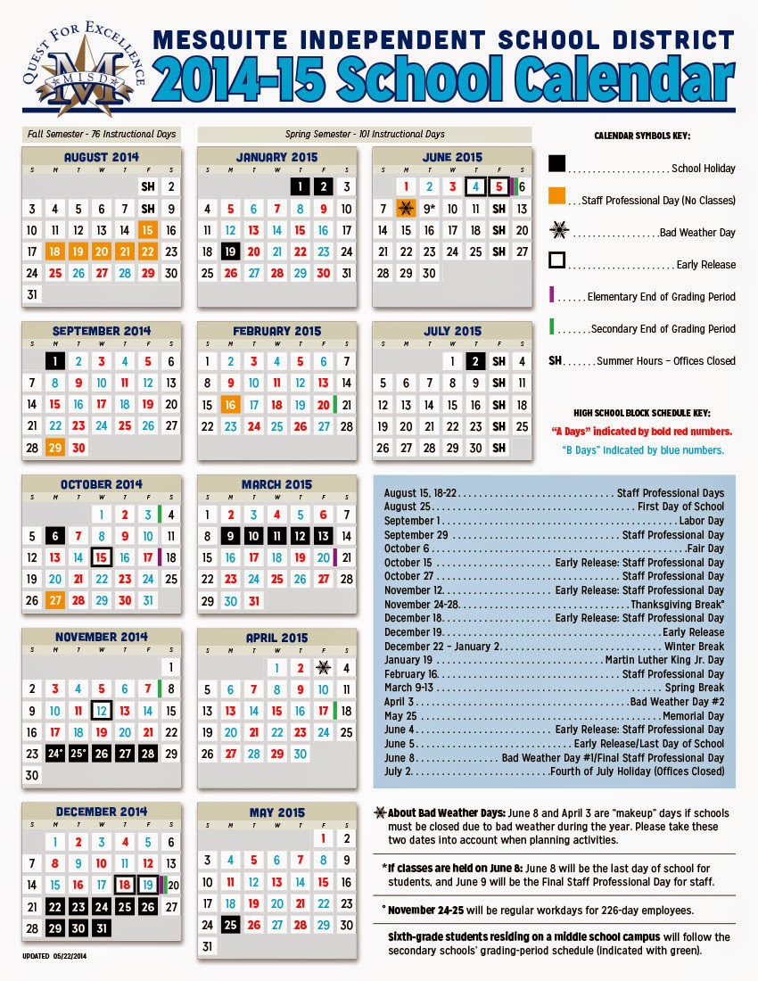 school district school calendar 2014 2015 first day of school ...