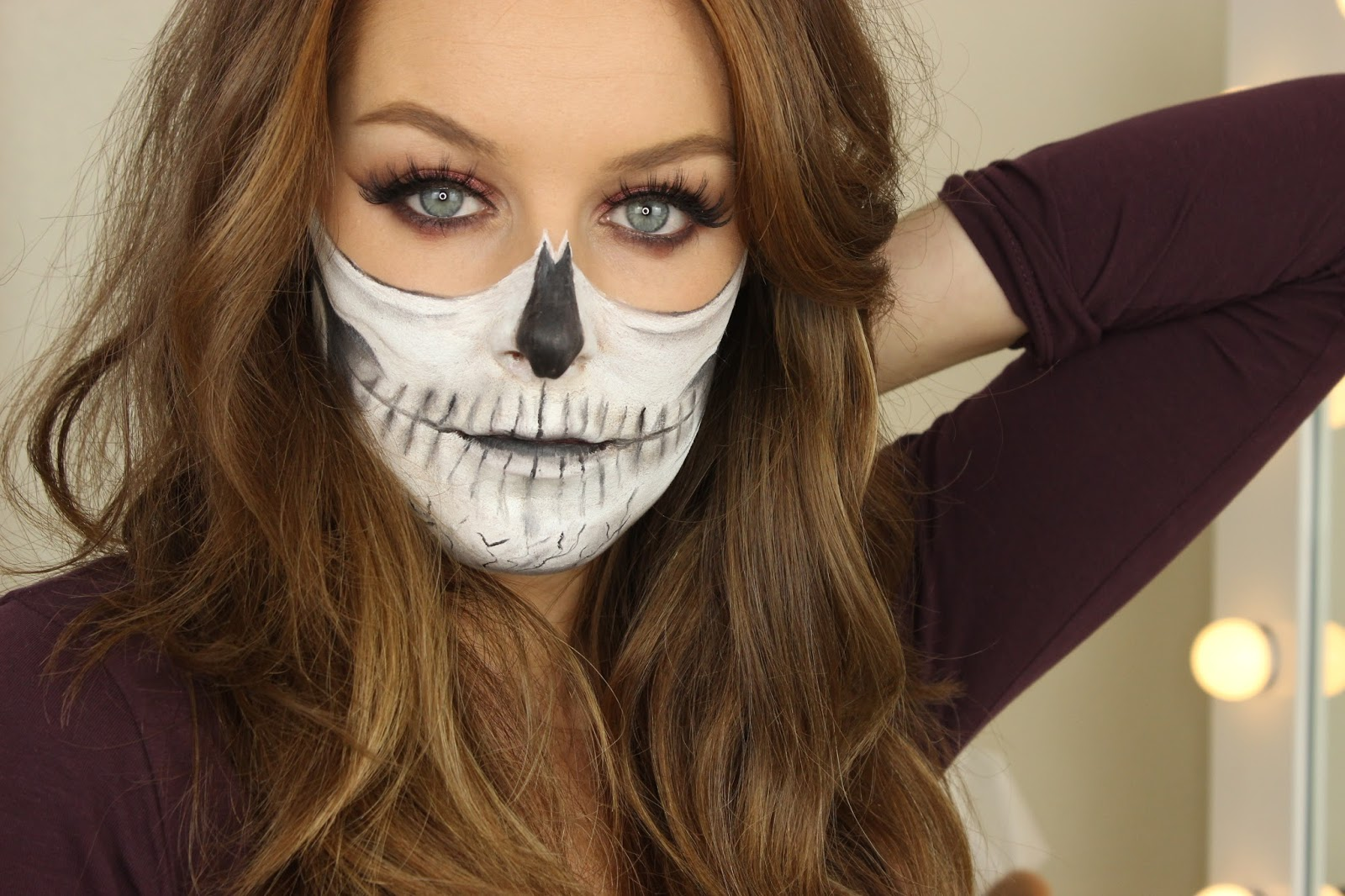 Halloween Half Skull Makeup