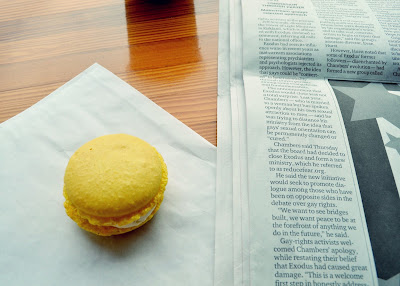 Honore Bakery, macaron, lemon, cafe, bakery, ballard, Seattle, newspaper