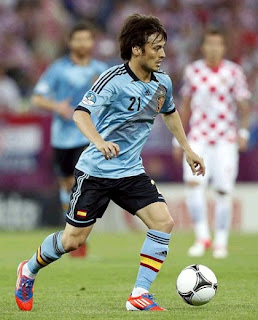 David Silva playing for Spain against Croatia