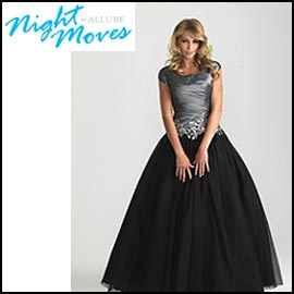 Silver Modest Prom Dress