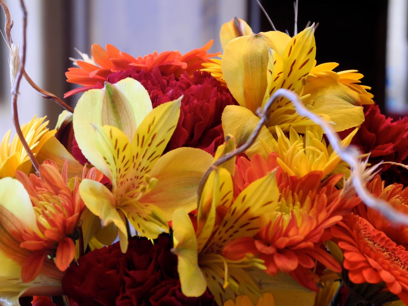 The Flower Girl Blog fall flowers and a pumpkin