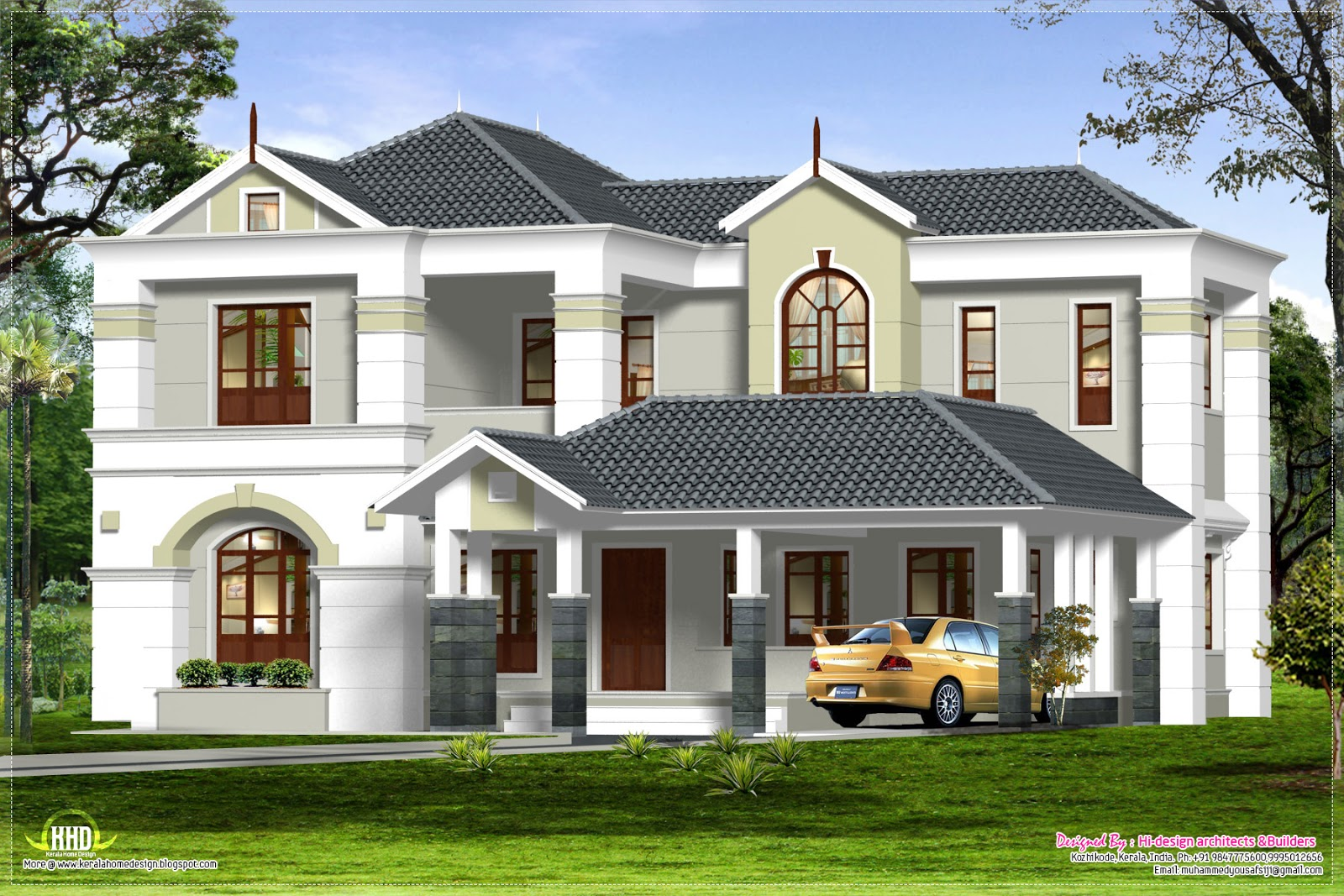 March 2013 kerala home design and floor plans for One level house exterior design