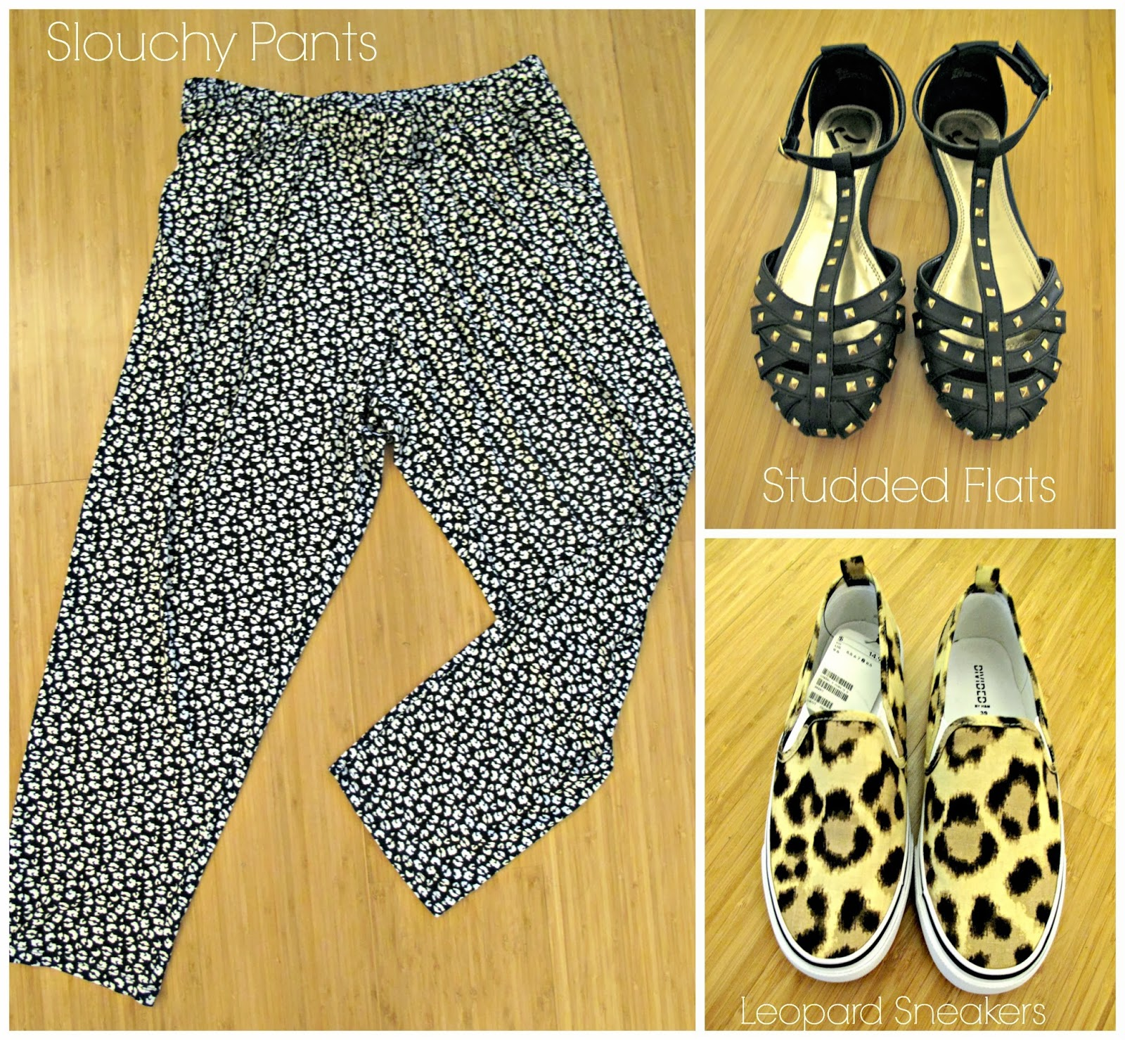 bobeau, slouchy pants, report, stud, black, flats, h and m, leopard print, canvas, sneakers, plimsolls, ross