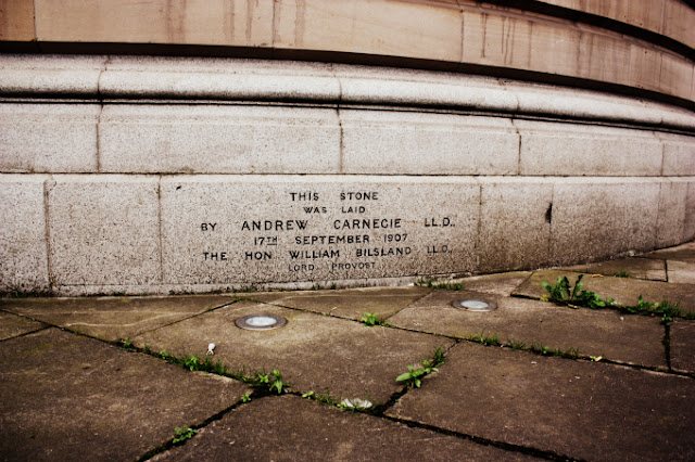 Outside stone laid by Andrew Carnegie