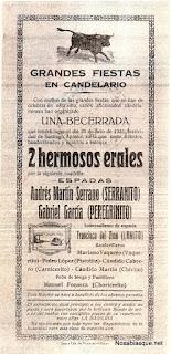 Cartel de toros de Candelario Salamanca 1931