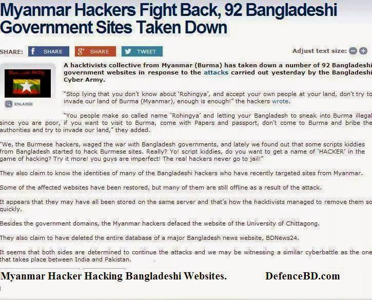 Myanmar attacking Bangladeshi websites
