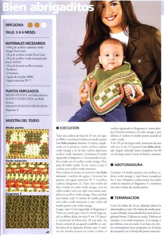Manetes d\'Or: Poncho Bebé y Niña. Patrones.
