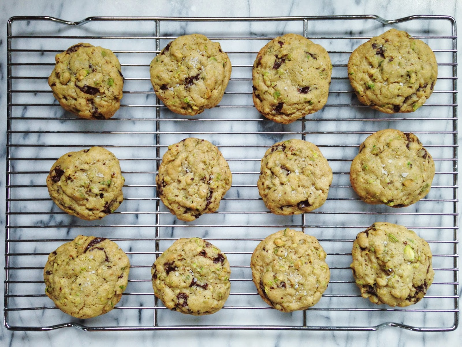 salty dark chocolate & pistachio cookies