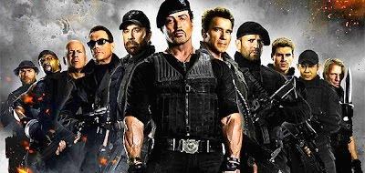 THE EXPENDABLES 3 cast with Nicholas Cage, Clint Eastwood and Harrison Ford