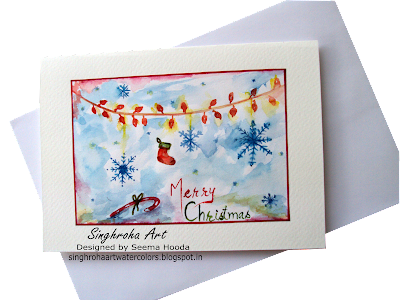 snowflakes, cardmaking, challenge, Christmas, christmasdecorations, christmascards, greetingcards, handmade, singhroha, watercolorcard, merrychristmas, candycane, illustration, #blue #card,lights